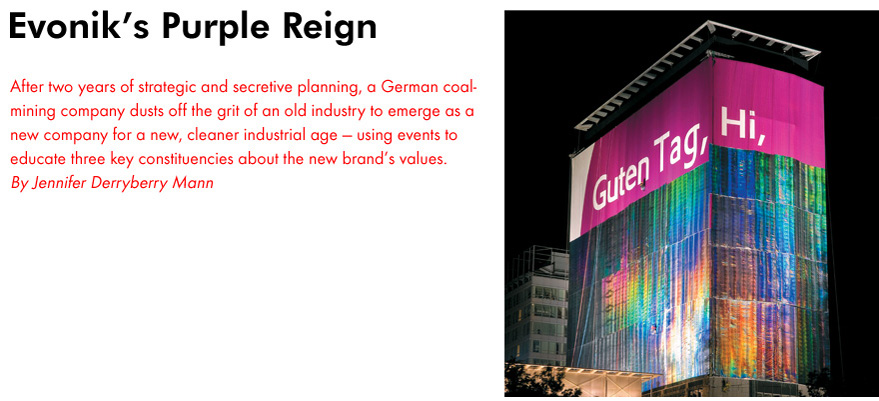 Corporate EVENT magazine - Article: Evonik's Purple Reign, Spring 2008