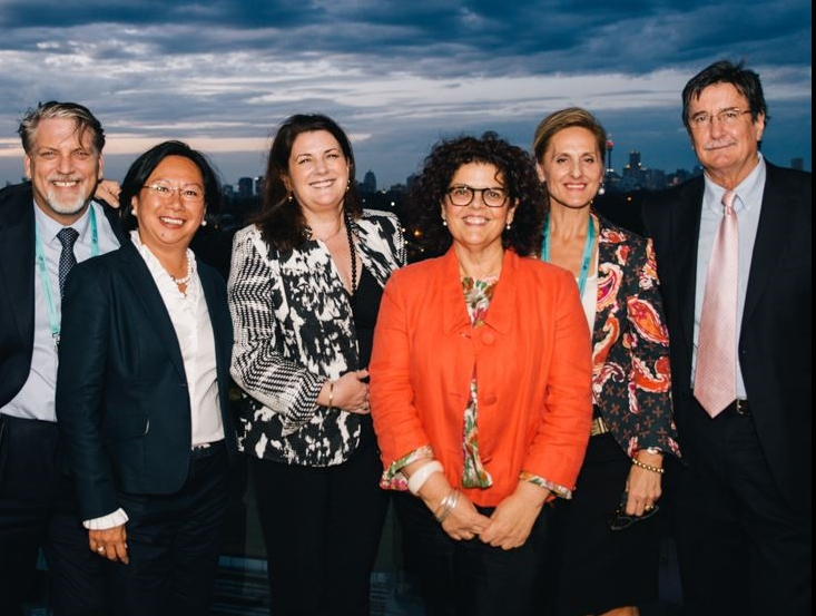 EEAA and ICC Sydney at the 2015 Conference Welcome Reception. L-R: ICC Sydney General Manager, Adam Mather-Brown; ICC Sydney Director of Event Services, Malu Barrios; ICC Sydney Director of Business Development, Beverley Parker; EEAA Chief Executive, Joyce DiMascio; EEAA Board Member and ICC Sydney Business Development Manager - International and Exhibitions, Helen Mantellato; and ICC Sydney Chief Executive Officer, Geoff Donaghy.