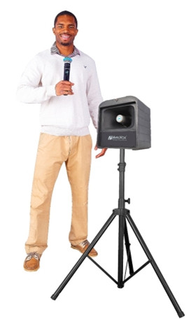The tripod mounted Mega Hailer from AmpliVox offers powerful wireless sound coverage for large outdoor areas.