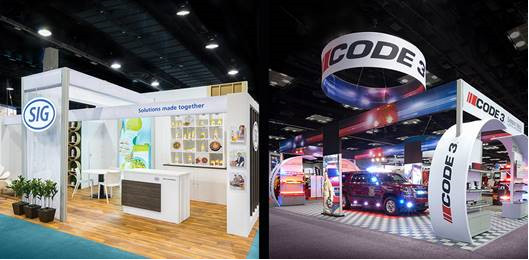 Nimlok Philadelphia's exhibit for SIG (left) and Nimlok St. Louis' exhibit for Code 3 are finalists in EXHIBITOR Magazine's Fifth Annual Portable/Modular Awards.